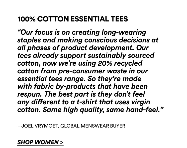 100% Cotton Essential Tees. Click To Shop Women's