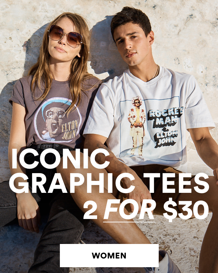 Iconic Graphic Tees 2 for $30. Shop Womens.