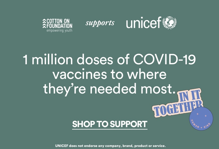 UNICEF   1 million doses of COVID-19 vaccines to where they're needed most. Click to Shop to Support