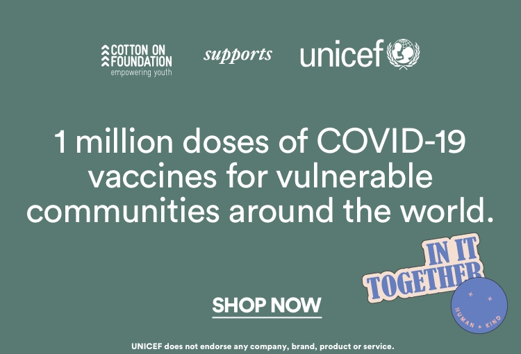 UNICEF | 1 million doses of COVID-19 vaccines to where they're needed most. Click to Shop to Support