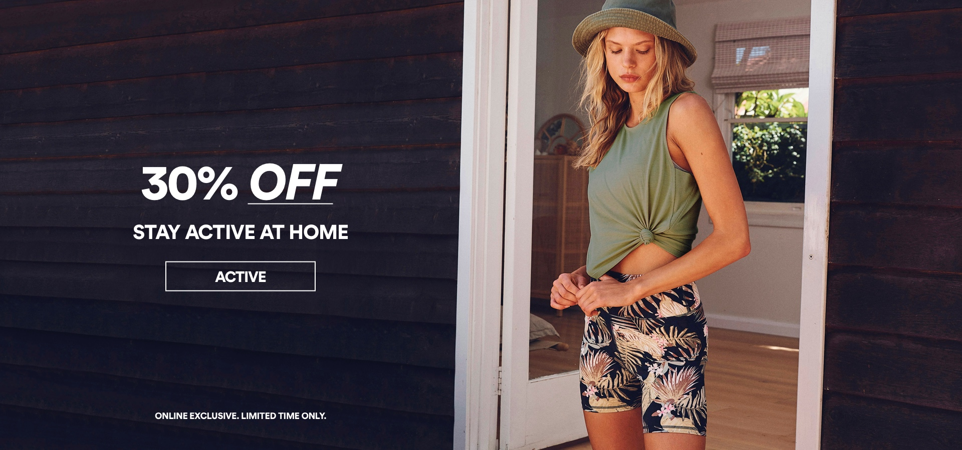 30 percent off. Stay active at home. Click to Shop.