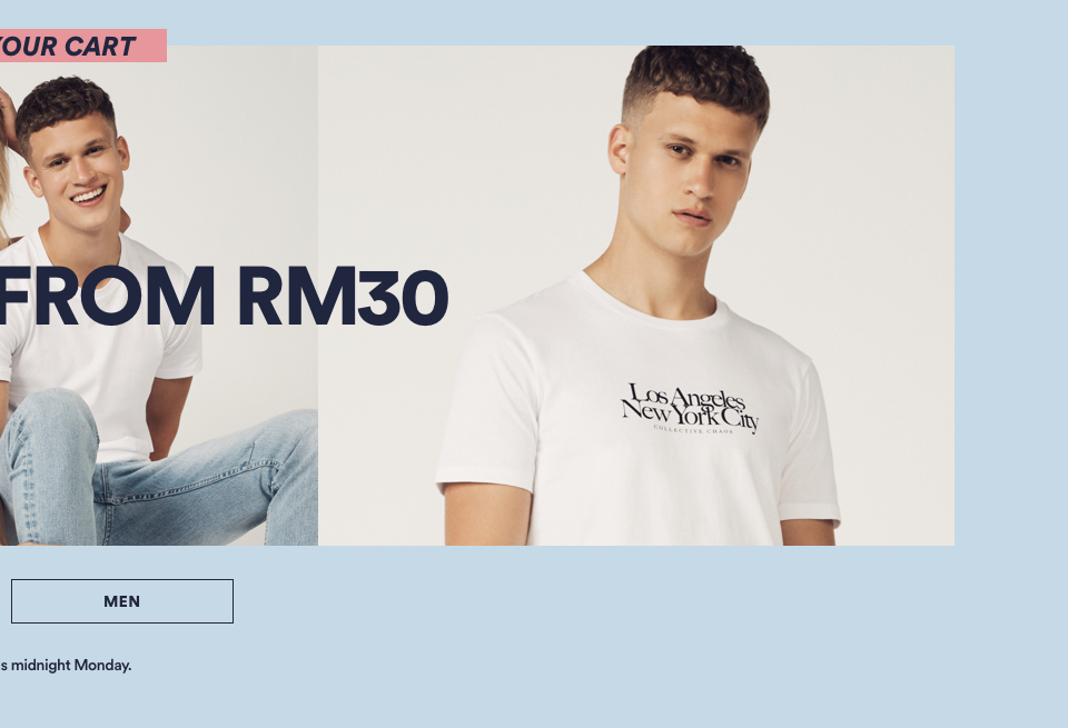 Tops Now From RM30. Click to Shop Mens. Selected Styles, Ends Midnight Monday.