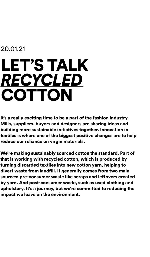 Let's Talk Recycled Cotton.