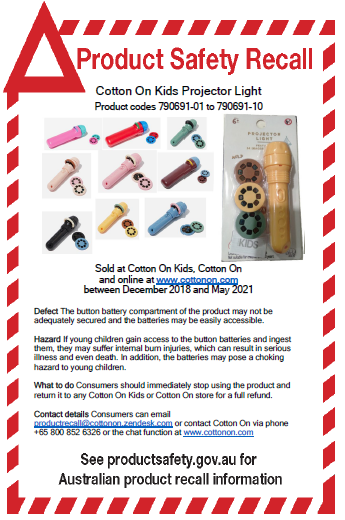 Cotton On Kids Projector Light product recall