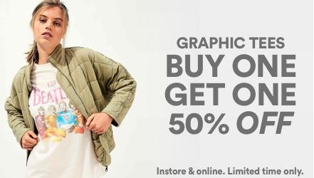 BOGO 50% Off Grpahics. Click to shop.