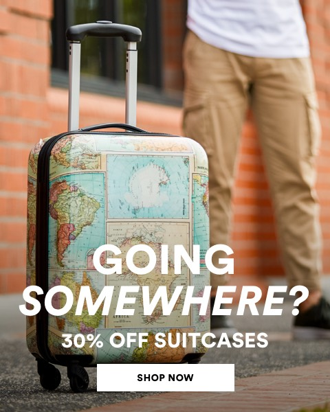 Travel suitcases. 30% off. Click to shop