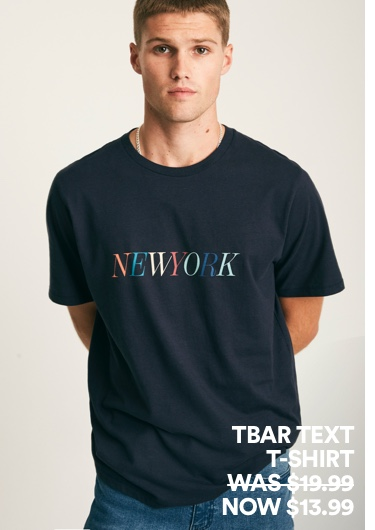 Tbar Text T-Shirt. Click to shop