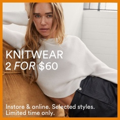Women's Knitwear 2 for $60. Click to Shop