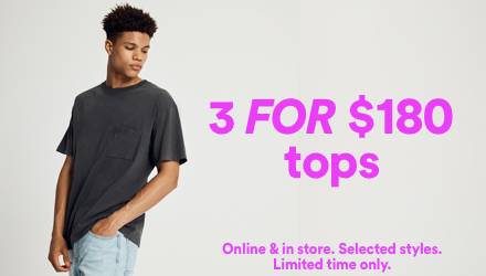 3 for $180 Tops. Click to shop.