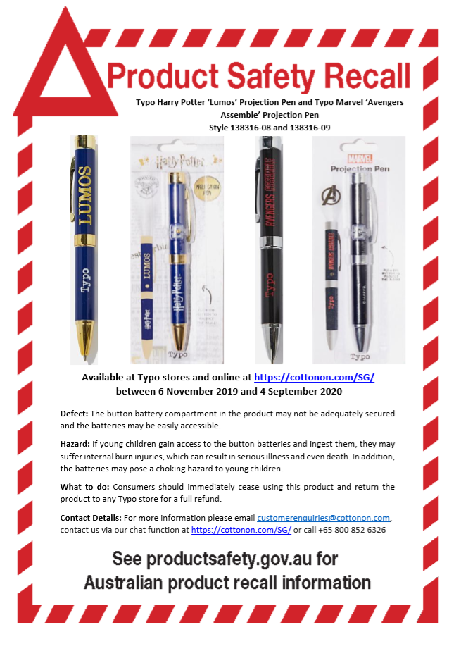 Typo Harry Potter & Marvel Projection Pen product recall
