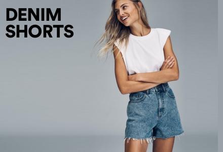 Women's Denim Shorts. Click to Shop.