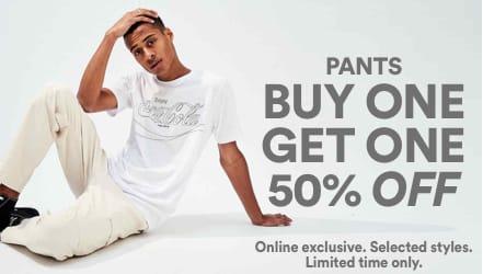 BOGO Men's Pants. Click to Shop Women