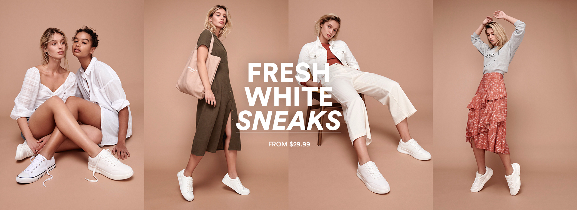 Fresh white sneakers from $29.99.