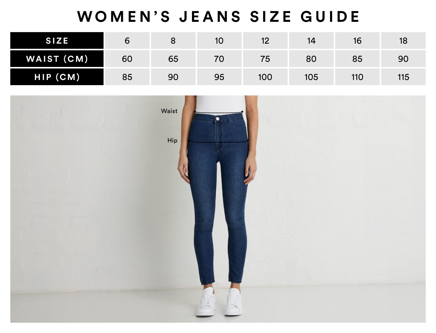 Size Guide All Jeans