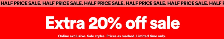 Extra 20% off Sale | T&Cs apply. Click to shop.