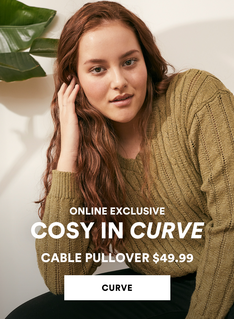 Curve Cable Pullover $49.99. Shop Now.