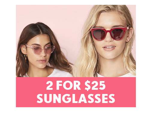 Shop 2 pairs of sunglasses for $25 | Shop Rubi Sunglasses Online
