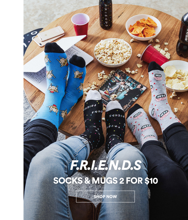 FRIENDS Socks and Mugs 2 for $10. Click to shop.