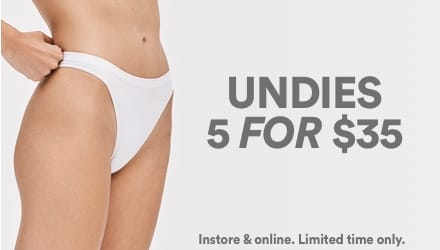 Undies 5 For $35. Click to shop.