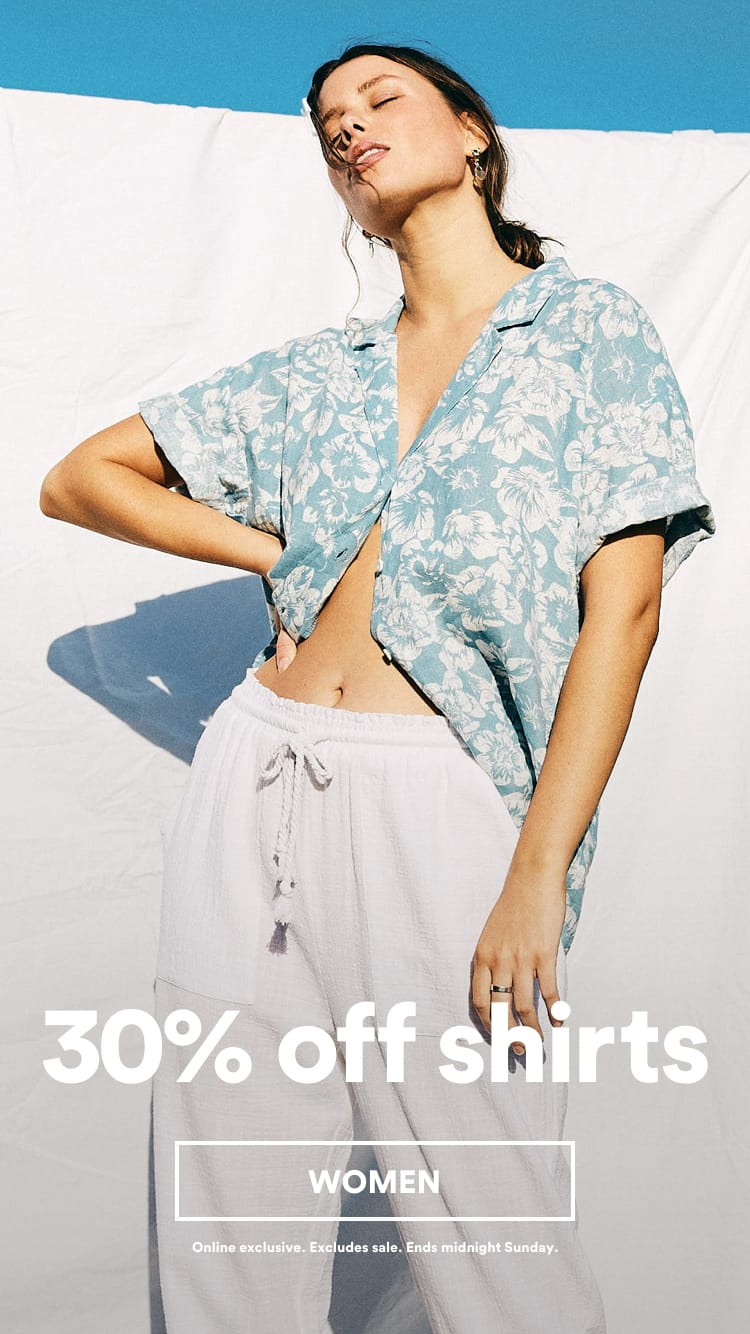 30% Off Shirts. Click to Shop Womens.