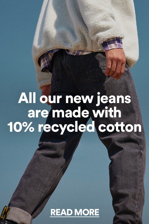 Made with recycled cotton. Click to read more.