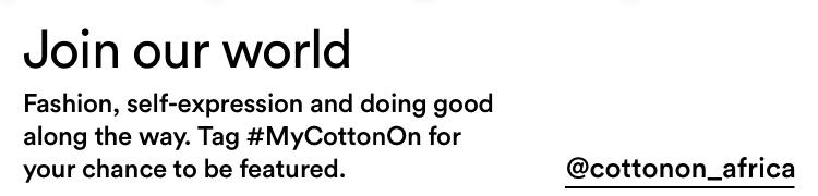 Follow Cotton On Women @CottonOn_Africa.