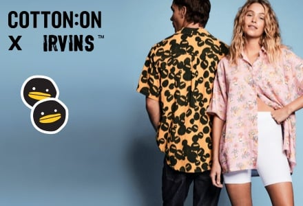 Cotton On X IRVINS. Click to Shop.