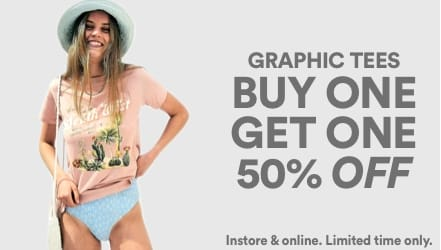 BOGO 50% Graphic Tees. Click to Shop Women