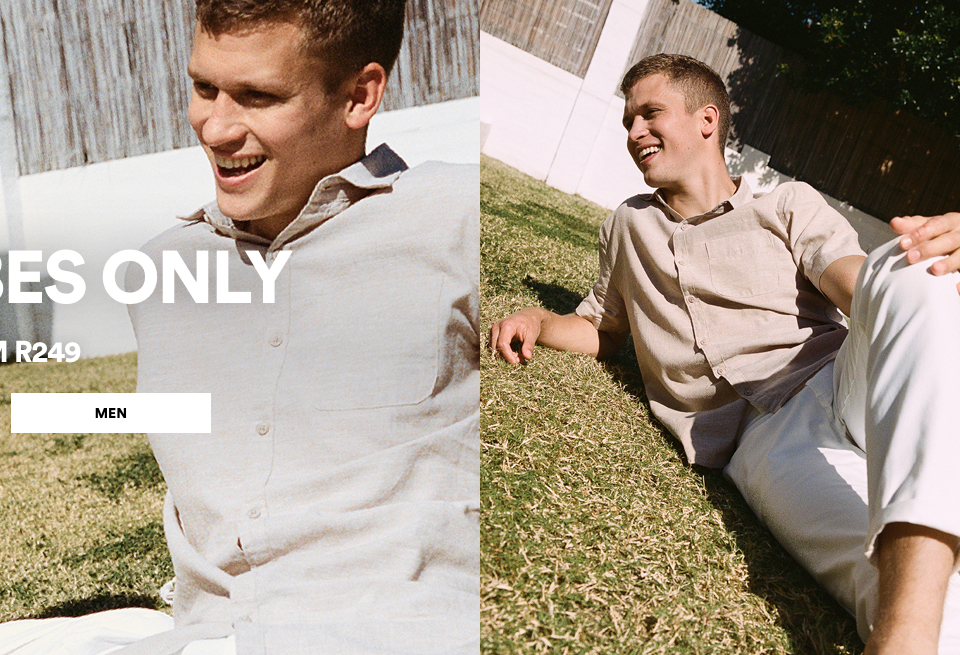 New Arrivals from R249. Click to Shop Mens