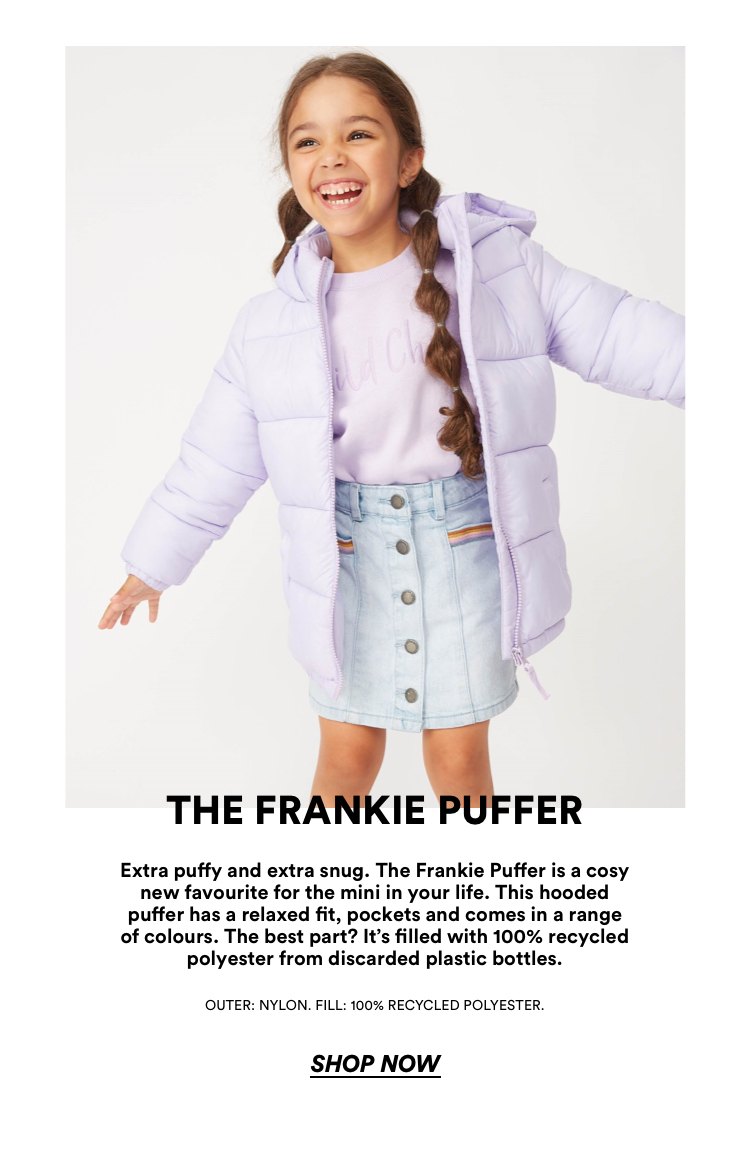 The Frankie Puffer. Made from recycled material. Click to Shop.