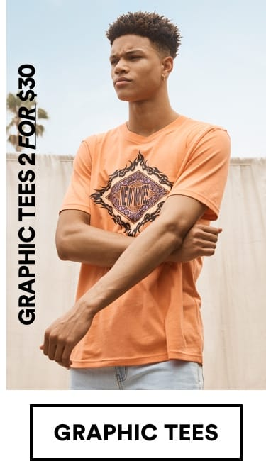 Mens Graphic Tees 2 for $30. Click to Shop