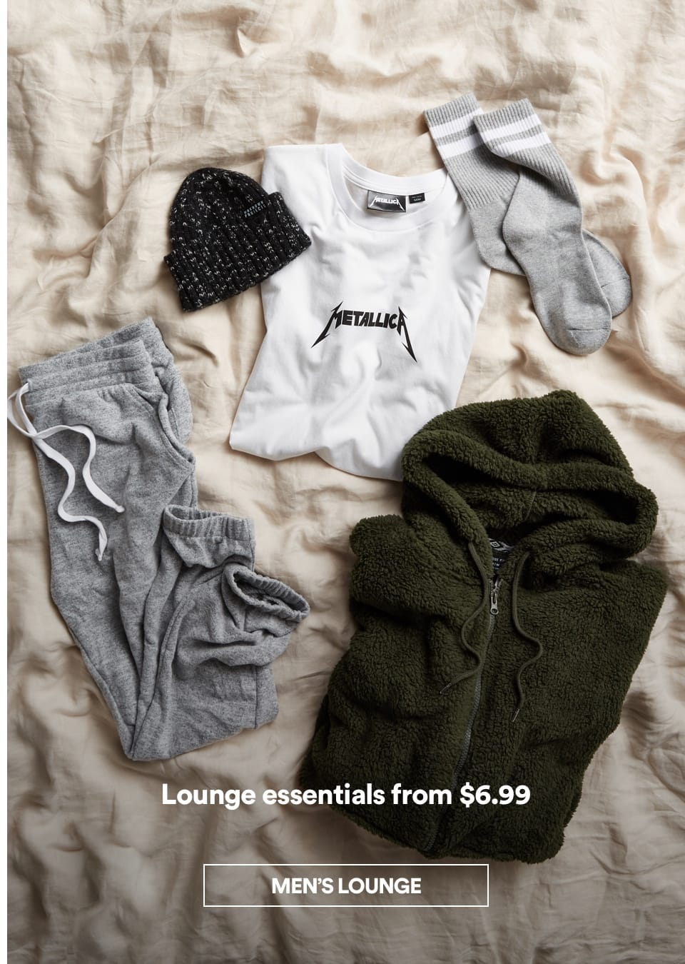 Men's Lounge Essentials. Click to Shop.