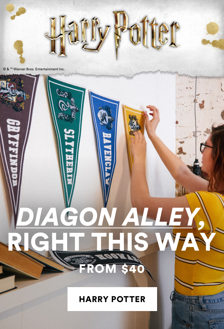 Harry Potter. Diagon Alley, right this way. From $40. Click to shop now