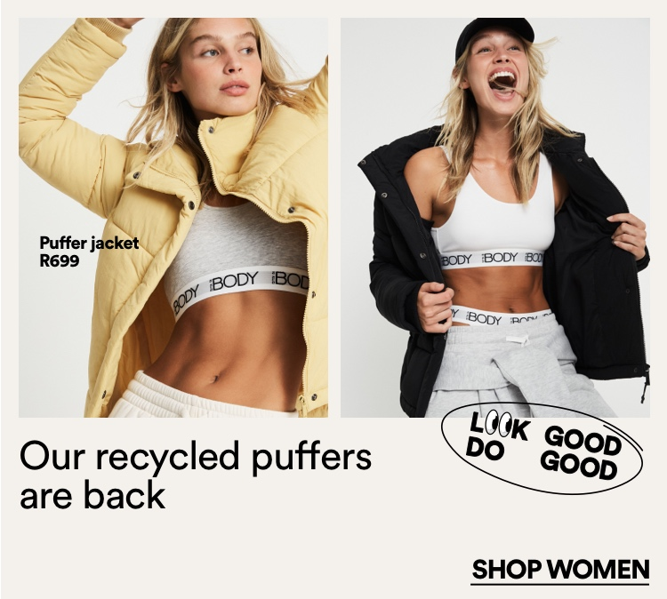 Our Recycled Puffers Are Back. Click to shop Women's.