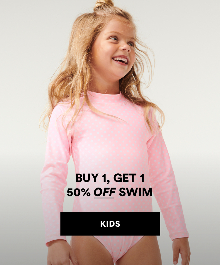 Kids swimwear, buy 1 get 1 50% off. Shop Now.