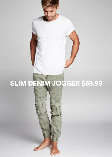 Slim Denim Jogger. Click to shop.
