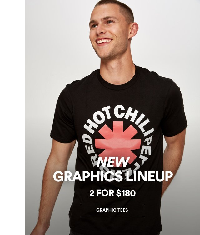 New Graphics Line Up. 2 for $180. Click to Shop Mens Graphic Tees.