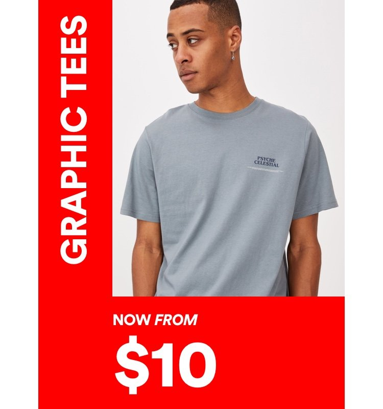$10 Men's Graphic Tees. Click to Shop.