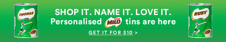 SHOP IT. NAME IT. Personalised Milo. Click to shop