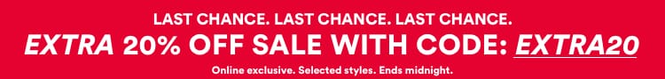 Last Chance - Extra 20% off Sale. Use code EXTRA20. Click to Shop.