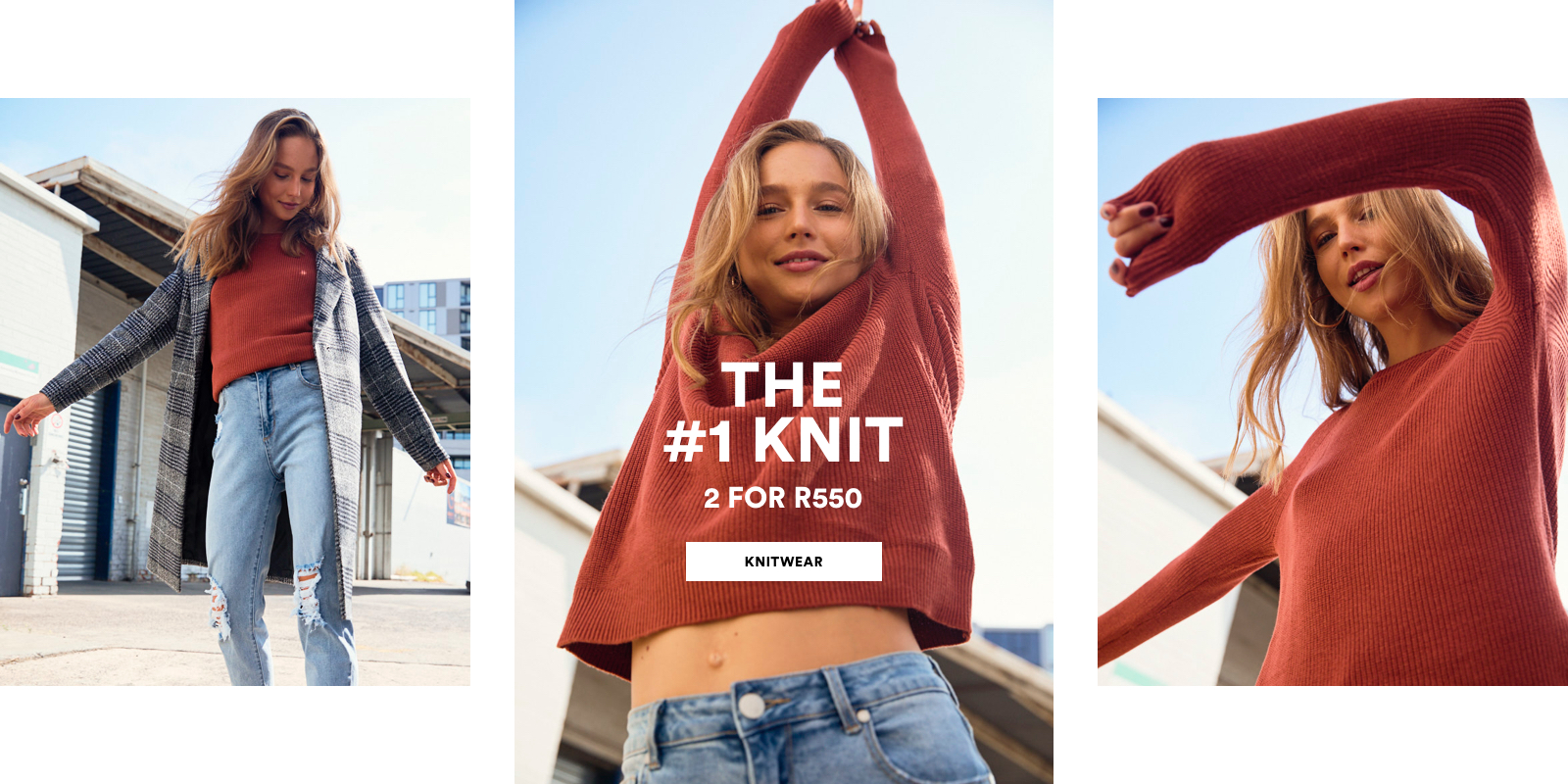 The number one Knit, 2 For R550. Click to shop