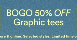 Buy One Get One 50% Off Graphic Tees. Click to shop.