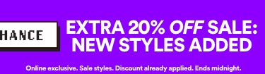 LAST CHANCE | Extra 20% off sale | Online exclusive. Discount already applied. Ends midnight.