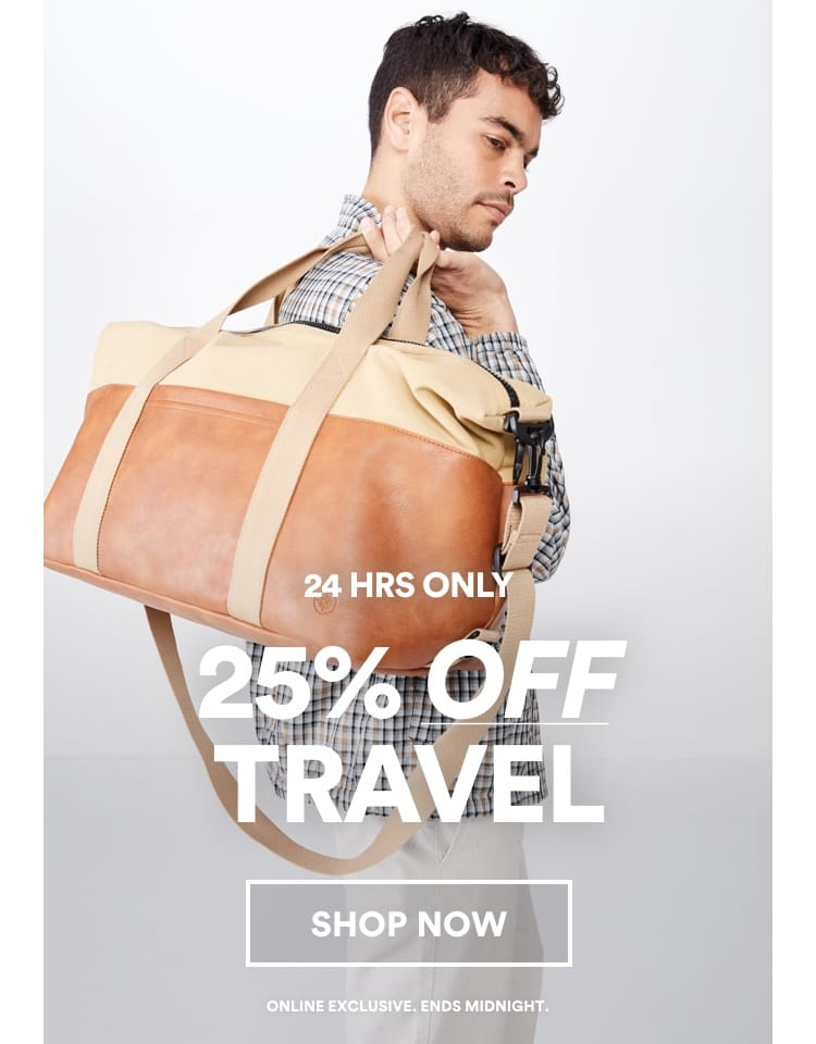 25% off travel. Click to shop.