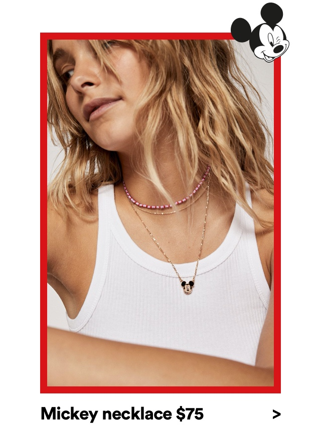 Mickey Necklace $75. Click to Shop Jewelry.