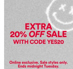 Extra 20% off Sale. Click to shop.