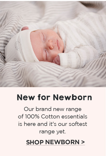 New for newborn - our brand new range of 100% cotton essentials is here and it's our softest range yet