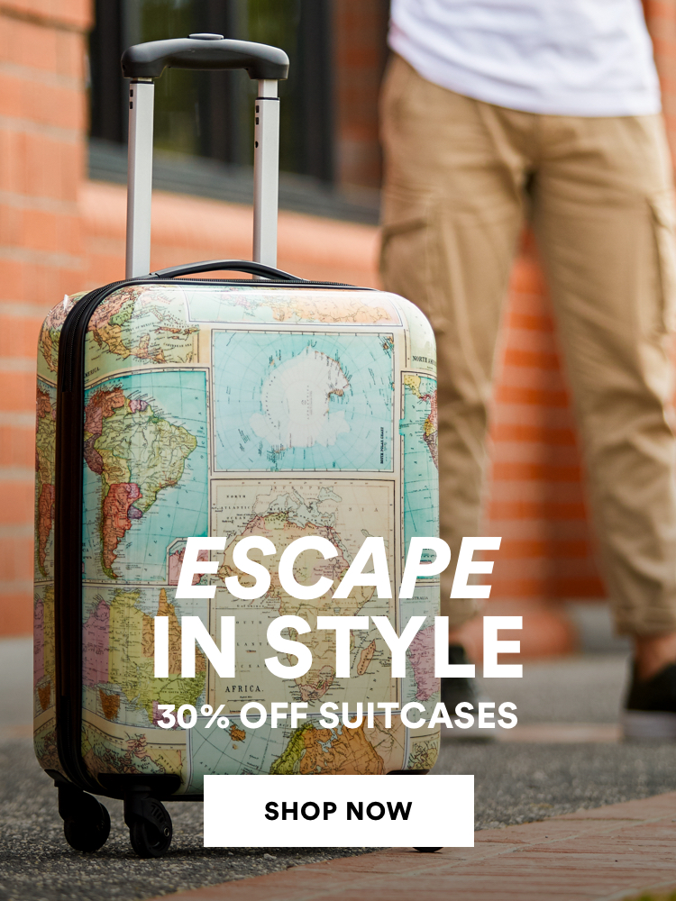 Escape in style. 30% off suitcases. Click to shop