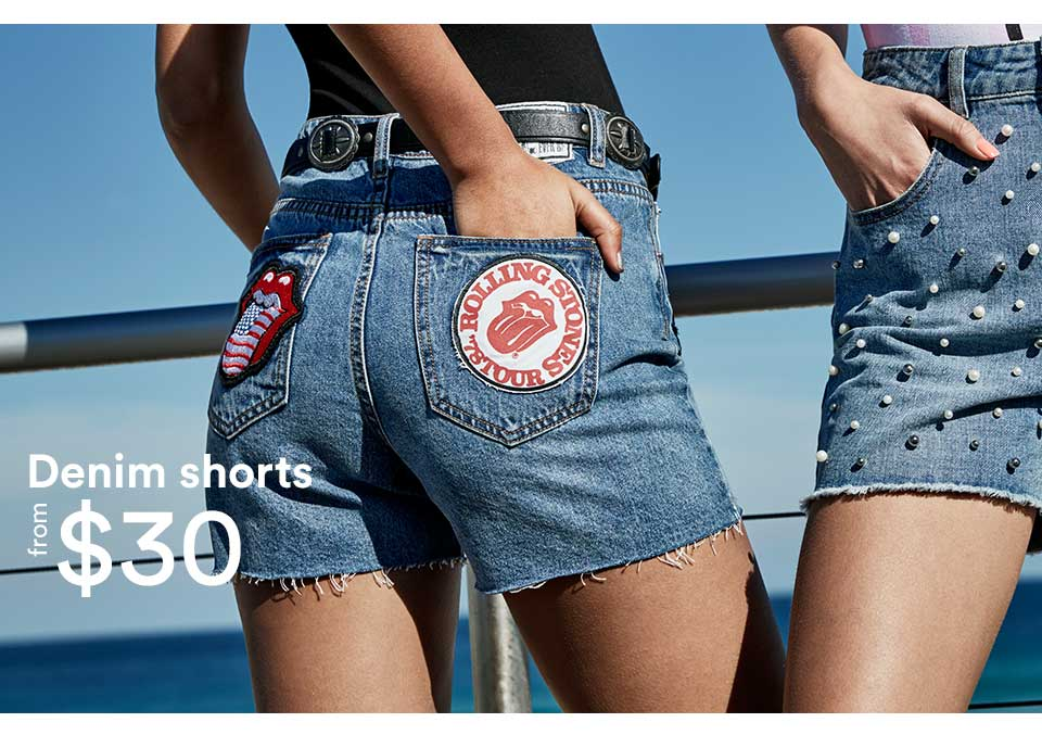 Denim shorts from $30