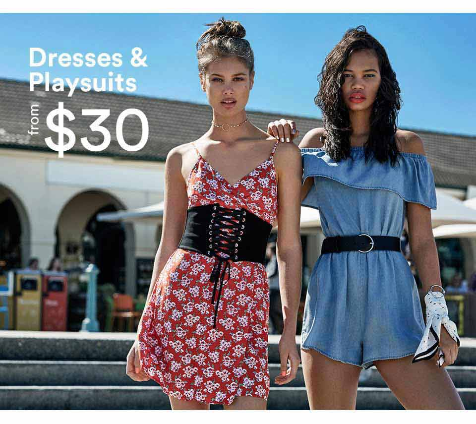 Dresses and playsuits from $35